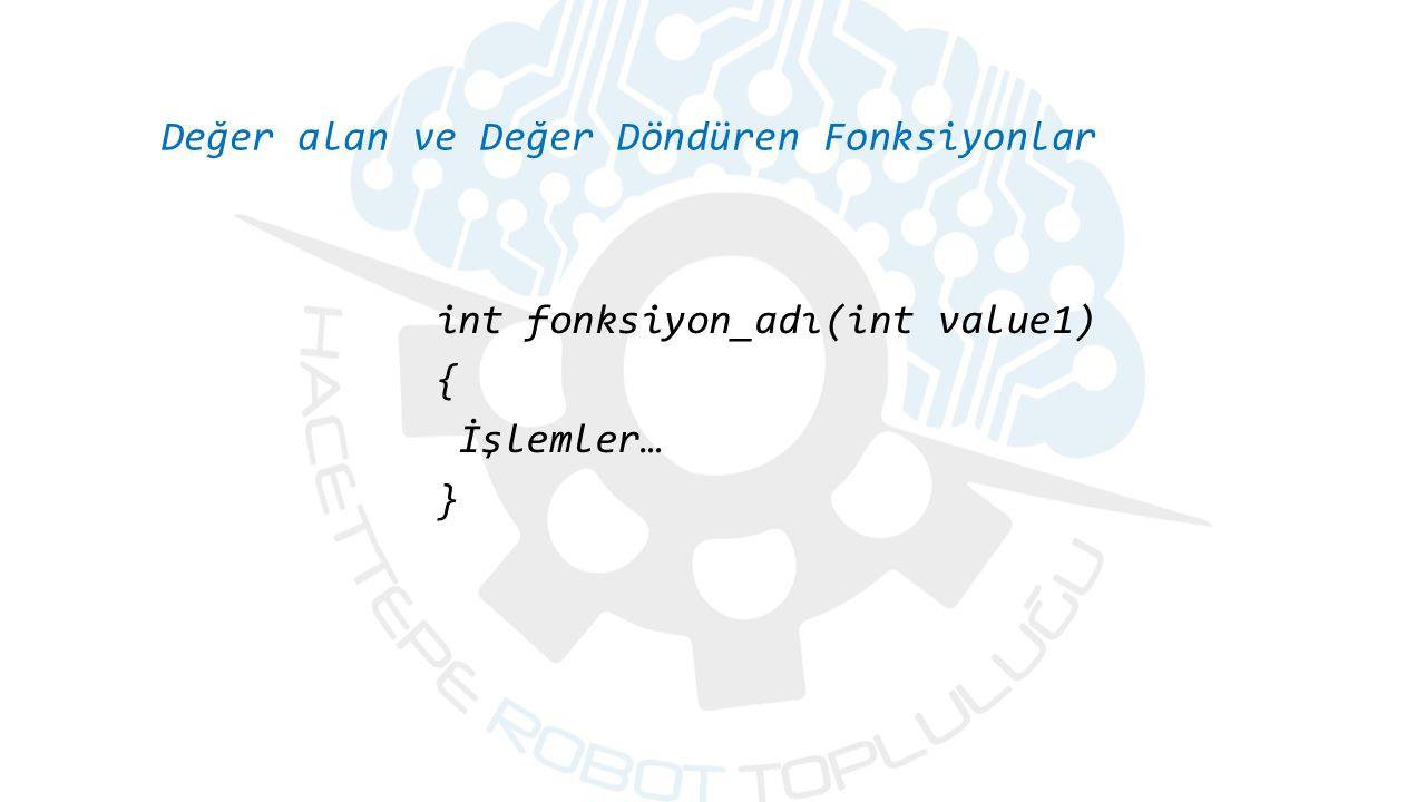 Değer alan ve Değer Döndüren Fonksiyonlar int fonksiyon_adı(int value1) { İşlemler… }