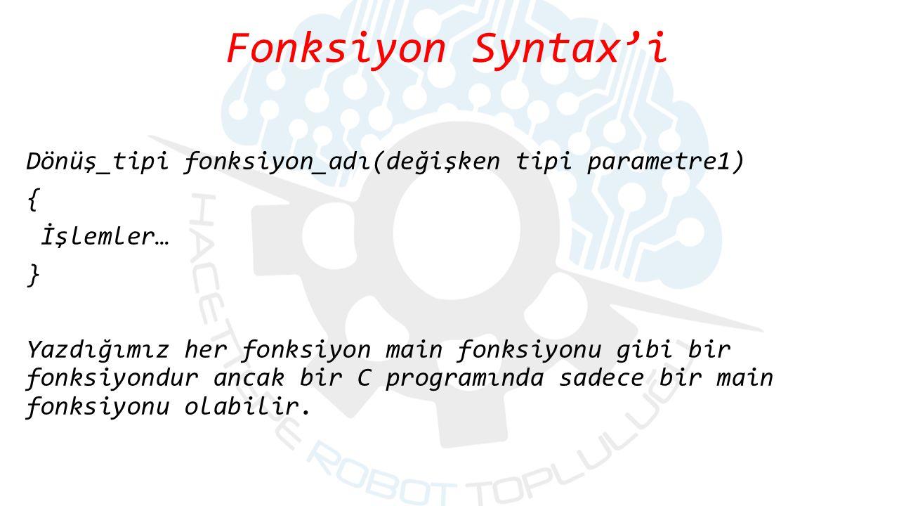 Fonksiyon Syntax'i Dönüş_tipi fonksiyon_adı(değişken tipi parametre1) { İşlemler… } Yazdığımız her fonksiyon main fonksiyonu gibi bir fonksiyondur anc
