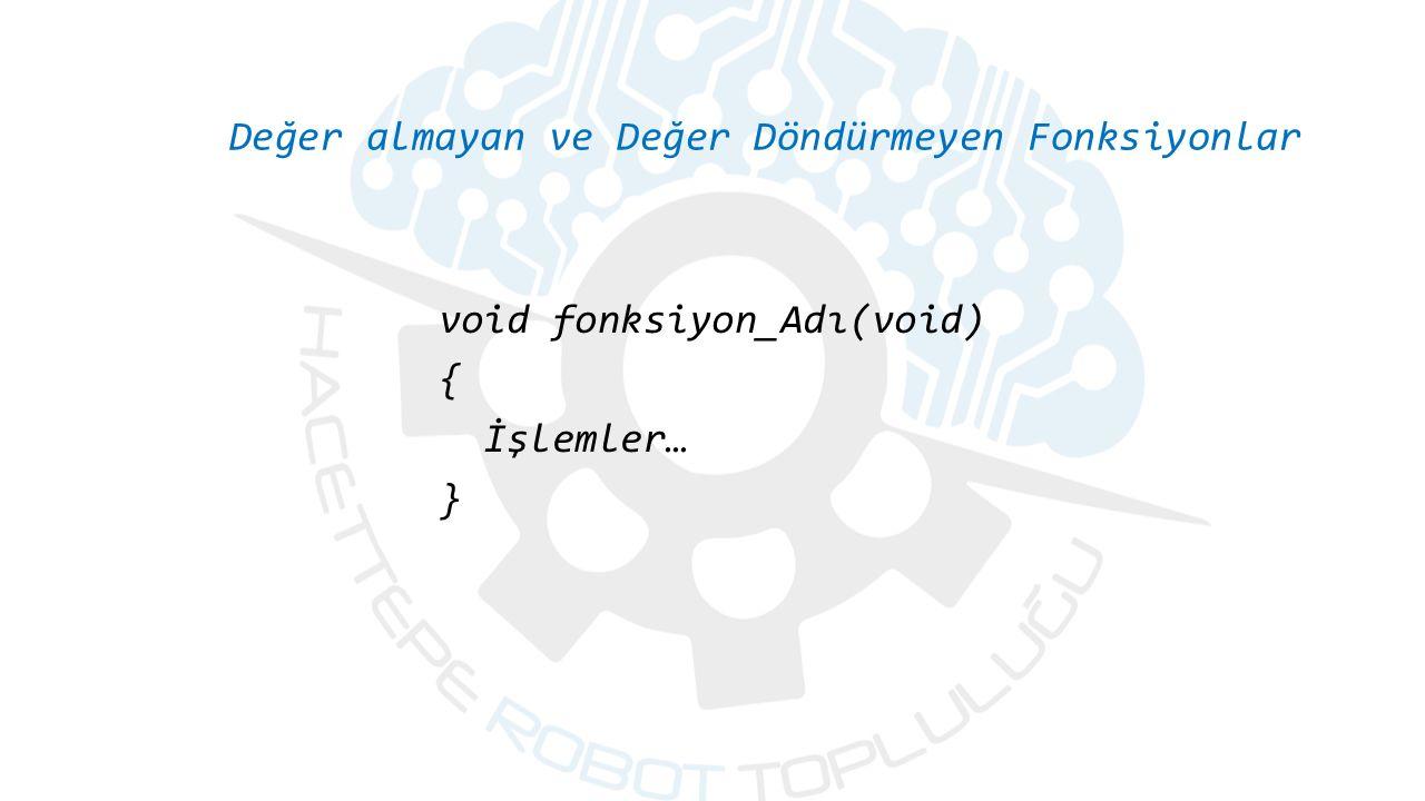 Değer almayan ve Değer Döndürmeyen Fonksiyonlar void fonksiyon_Adı(void) { İşlemler… }