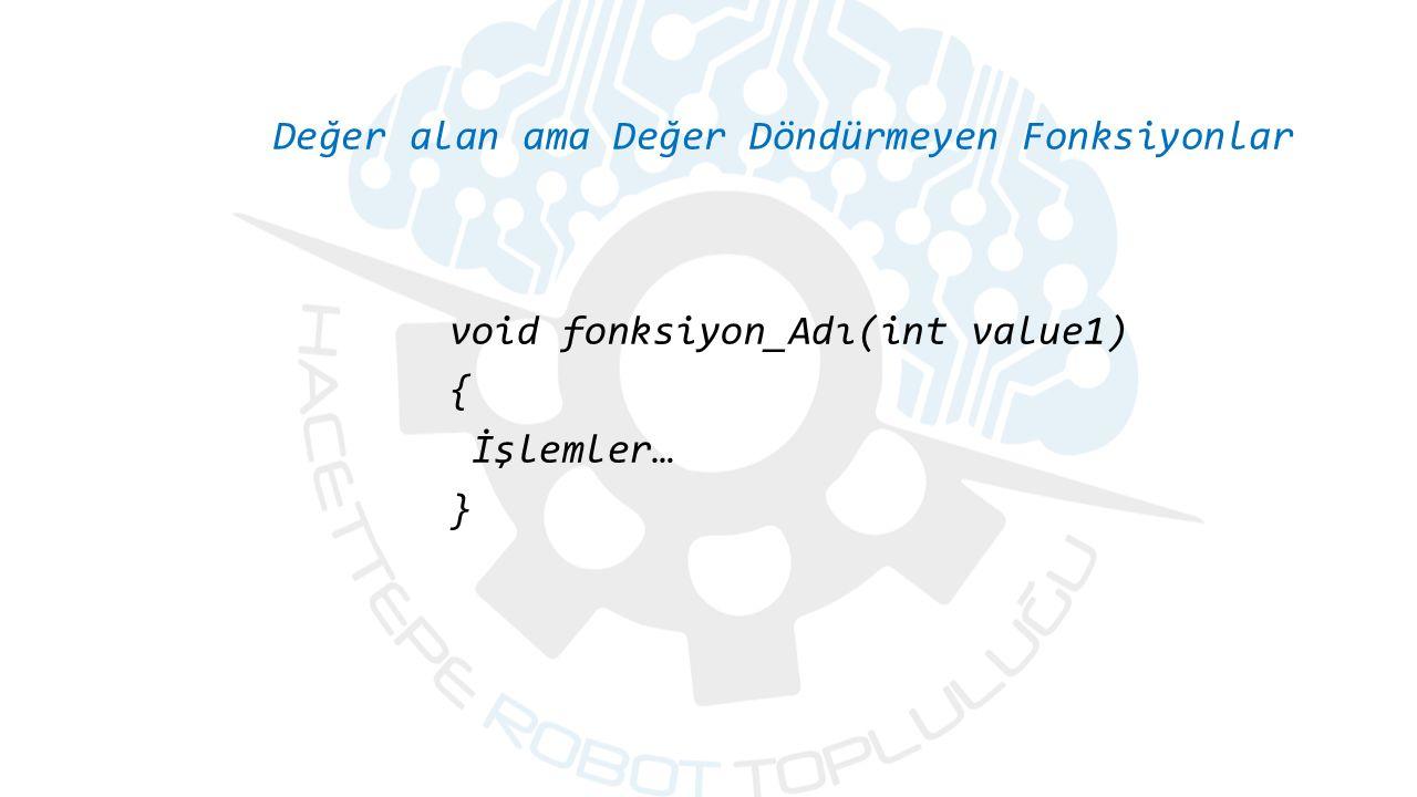 Değer alan ama Değer Döndürmeyen Fonksiyonlar void fonksiyon_Adı(int value1) { İşlemler… }