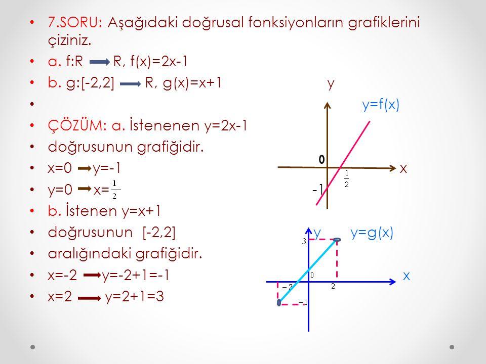 7.SORU: Aşağıdaki doğrusal fonksiyonların grafiklerini çiziniz. a. f:R R, f(x)=2x-1 b. g:[-2,2] R, g(x)=x+1 y y=f(x) ÇÖZÜM: a. İstenenen y=2x-1 doğrus