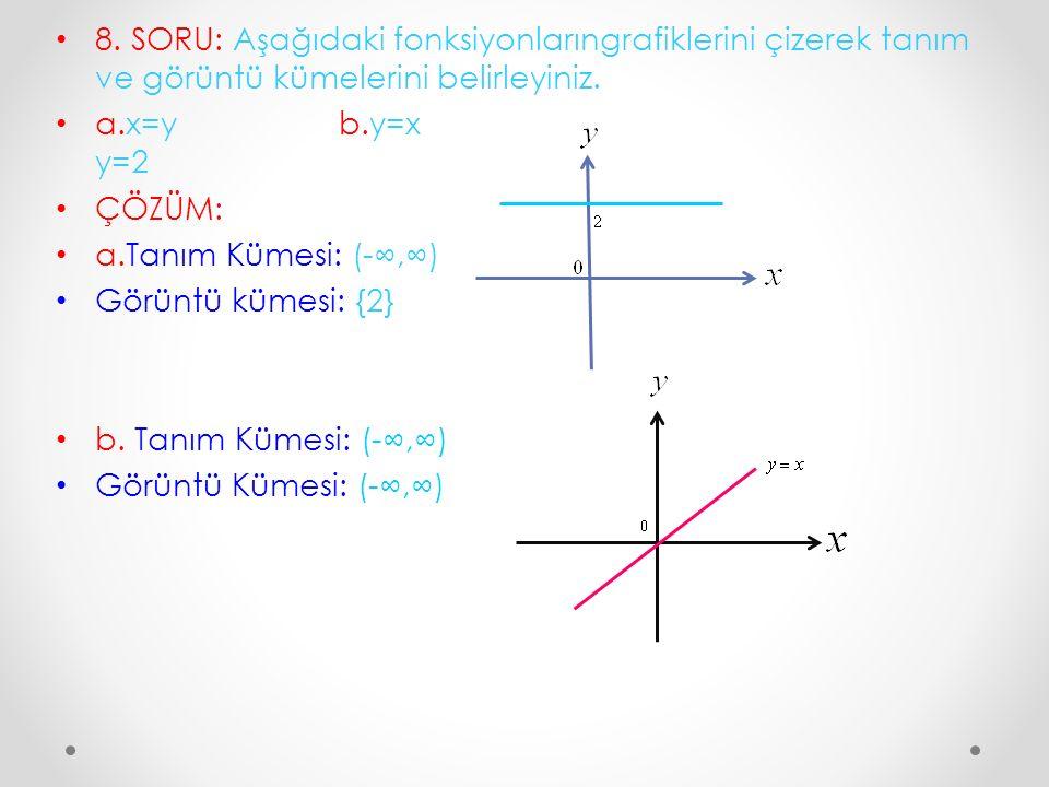 8. SORU: Aşağıdaki fonksiyonlarıngrafiklerini çizerek tanım ve görüntü kümelerini belirleyiniz. a.x=y b.y=x y=2 ÇÖZÜM: a.Tanım Kümesi: (-∞,∞) Görüntü