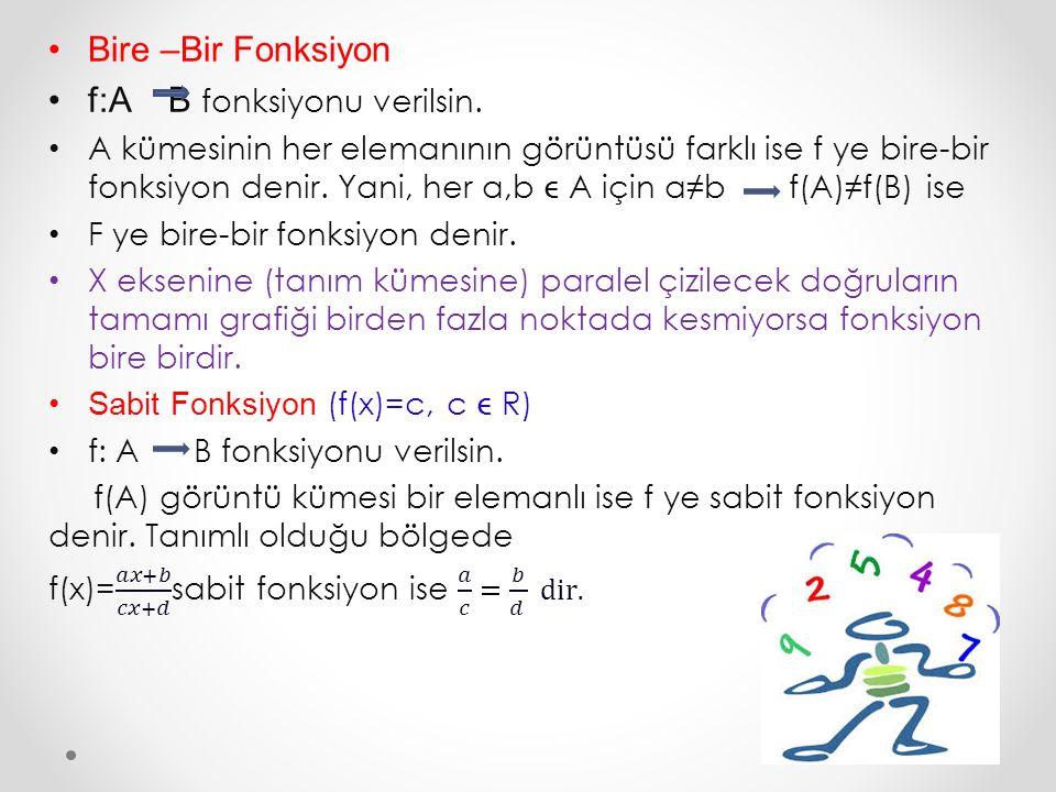 Birim Fonksiyon (f(x)=x) f :A A fonksiyonu verilsin.