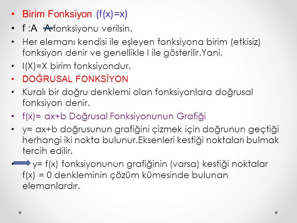Birim Fonksiyon (f(x)=x) f :A A fonksiyonu verilsin. Her elemanı kendisi ile eşleyen fonksiyona birim (etkisiz) fonksiyon denir ve genellikle I ile gö