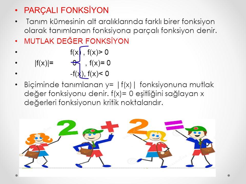 PARÇALI FONKSİYON Tanım kümesinin alt aralıklarında farklı birer fonksiyon olarak tanımlanan fonksiyona parçalı fonksiyon denir. MUTLAK DEĞER FONKSİYO