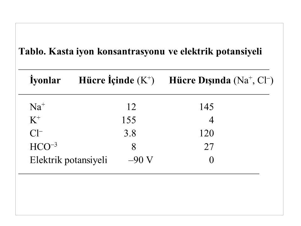 Tablo. Kasta iyon konsantrasyonu ve elektrik potansiyeli ————————————————————————— İyonlarHücre İçinde (K + )Hücre Dışında (Na +, Cl – ) —————————————