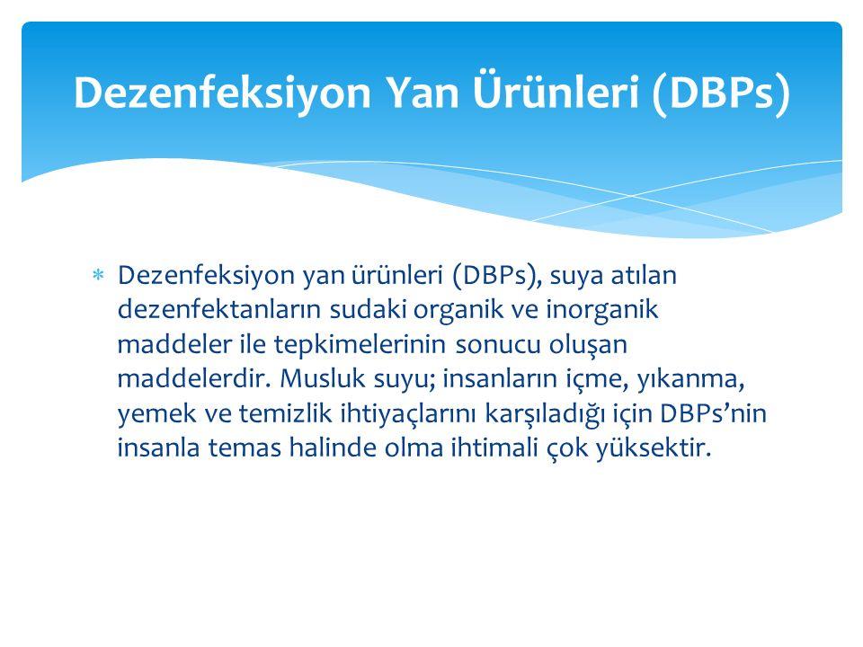  Dezenfeksiyon yan ürünleri (DBPs), suya atılan dezenfektanların sudaki organik ve inorganik maddeler ile tepkimelerinin sonucu oluşan maddelerdir. M