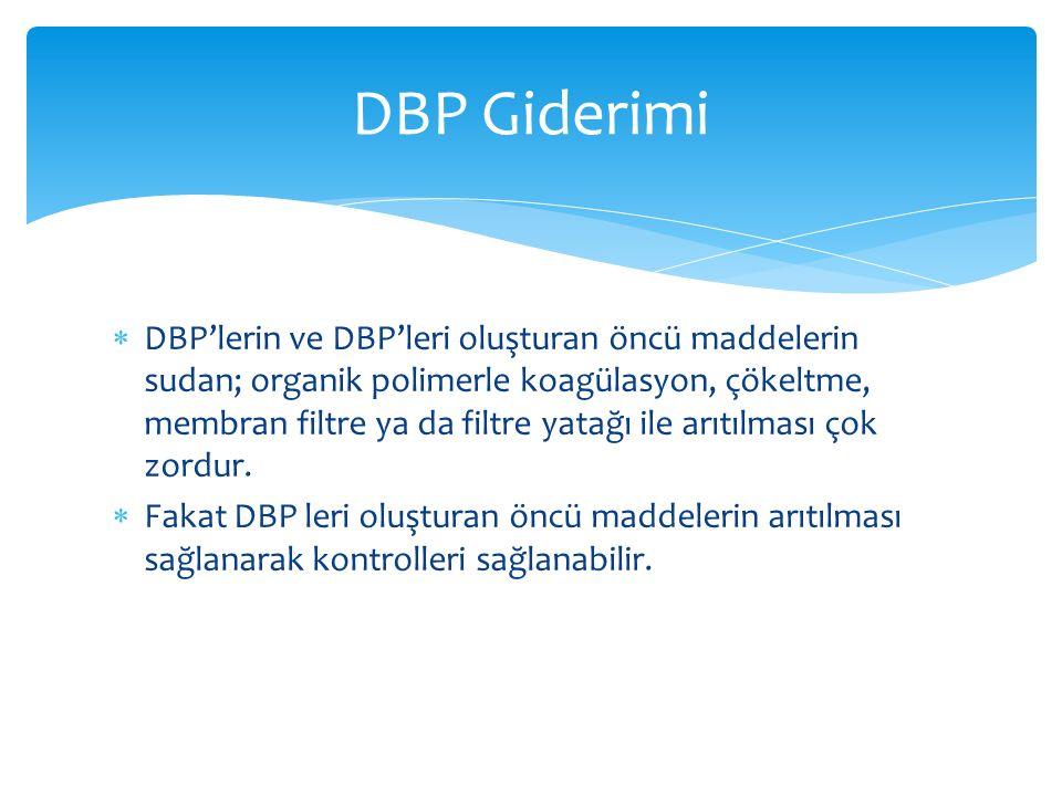 DBP'lerin ve DBP'leri oluşturan öncü maddelerin sudan; organik polimerle koagülasyon, çökeltme, membran filtre ya da filtre yatağı ile arıtılması ço