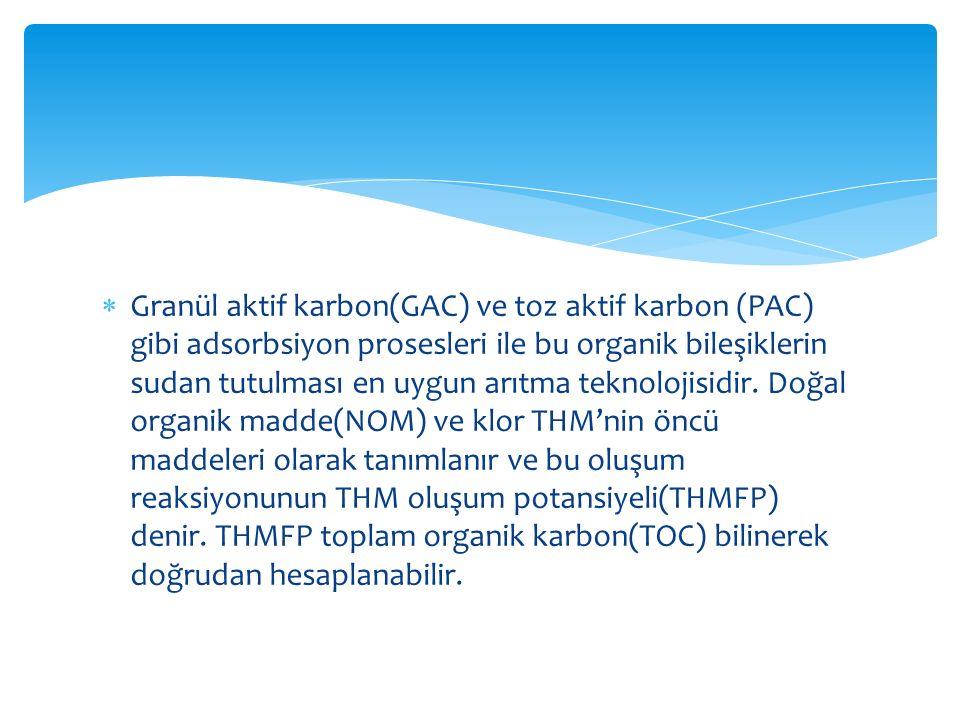  Granül aktif karbon(GAC) ve toz aktif karbon (PAC) gibi adsorbsiyon prosesleri ile bu organik bileşiklerin sudan tutulması en uygun arıtma teknoloji