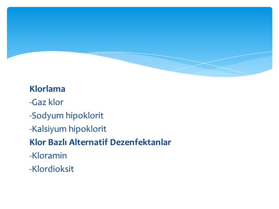 Klorlama -Gaz klor -Sodyum hipoklorit -Kalsiyum hipoklorit Klor Bazlı Alternatif Dezenfektanlar -Kloramin -Klordioksit