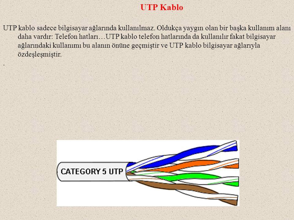 UTP Kablo UTP kablo sadece bilgisayar ağlarında kullanılmaz. Oldukça yaygın olan bir başka kullanım alanı daha vardır: Telefon hatları…UTP kablo telef