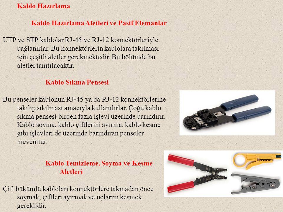 Kablo Hazırlama Kablo Hazırlama Aletleri ve Pasif Elemanlar UTP ve STP kablolar RJ-45 ve RJ-12 konnektörleriyle bağlanırlar. Bu konnektörlerin kablola