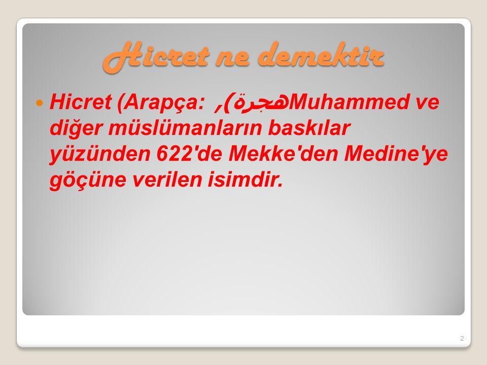 Hicret ne demektir Hicret (Arapça: هجرة ), Muhammed ve diğer müslümanların baskılar yüzünden 622 de Mekke den Medine ye göçüne verilen isimdir.