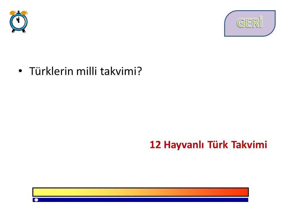 Türklerin milli takvimi 12 Hayvanlı Türk Takvimi