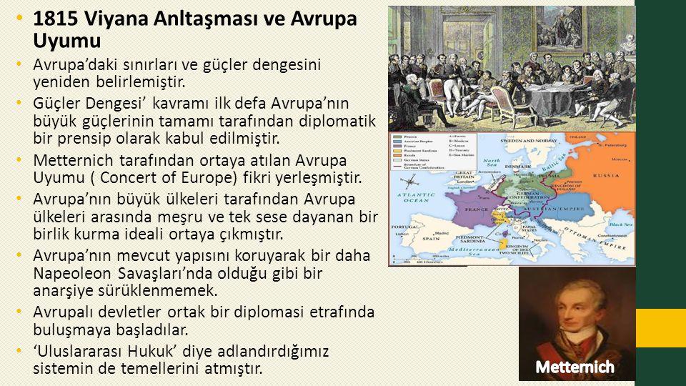 1815 Viyana Anltaşması ve Avrupa Uyumu Avrupa'daki sınırları ve güçler dengesini yeniden belirlemiştir. Güçler Dengesi' kavramı ilk defa Avrupa'nın bü