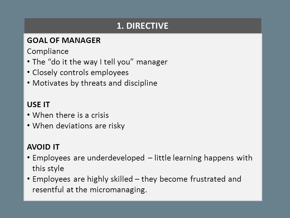 """1. DIRECTIVE GOAL OF MANAGER Compliance The """"do it the way I tell you"""" manager Closely controls employees Motivates by threats and discipline USE IT W"""