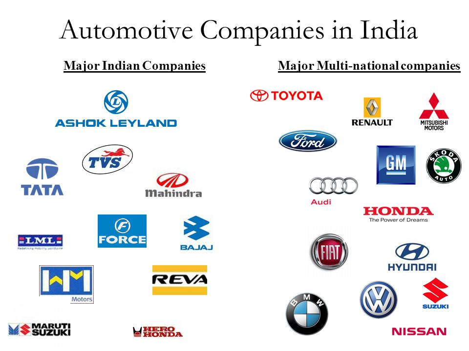 Automotive Companies in India Major Multi-national companiesMajor Indian Companies