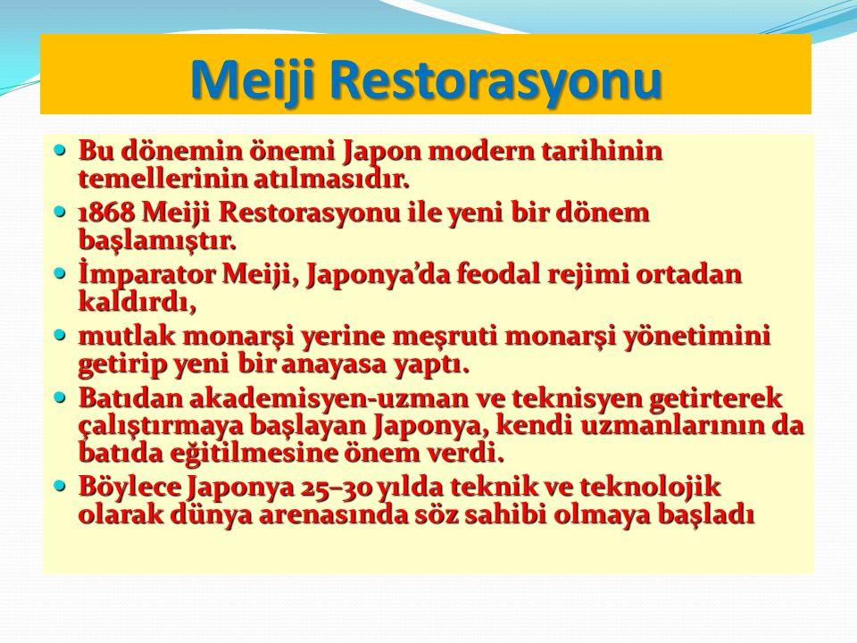 Meiji Restorasyonu Bu dönemin önemi Japon modern tarihinin temellerinin atılmasıdır. Bu dönemin önemi Japon modern tarihinin temellerinin atılmasıdır.