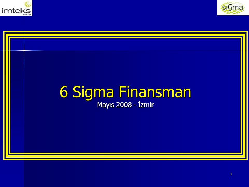 12 İMTEKS'TE SIX SIGMA ÇALIŞMALARI Projelerin parasal getirilerini izlemek için finans temsilcisi olarak çalışmalar başlatıldı.