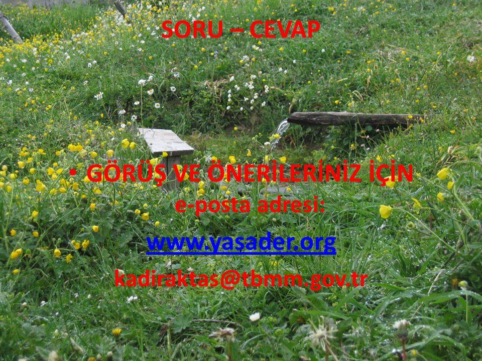SORU – CEVAP GÖRÜŞ VE ÖNERİLERİNİZ İÇİN e-posta adresi: www.yasader.org kadiraktas@tbmm.gov.tr 20