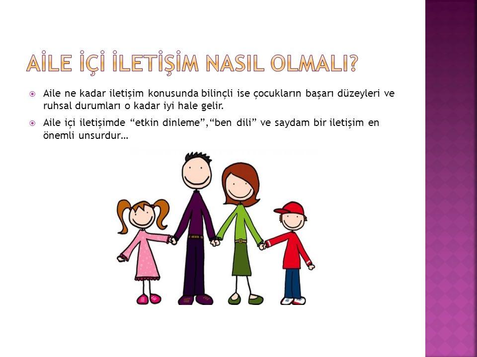 """ Aile ne kadar iletişim konusunda bilinçli ise çocukların başarı düzeyleri ve ruhsal durumları o kadar iyi hale gelir.  Aile içi iletişimde """"etkin d"""