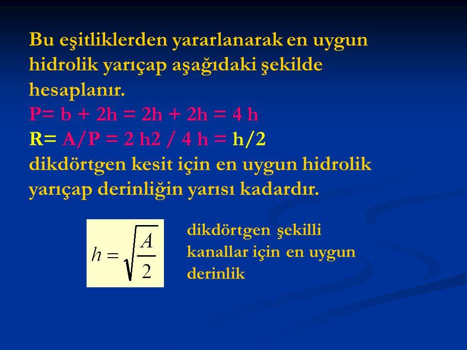 Bu eşitliklerden yararlanarak en uygun hidrolik yarıçap aşağıdaki şekilde hesaplanır. P= b + 2h = 2h + 2h = 4 h R= A/P = 2 h2 / 4 h = h/2 dikdörtgen k