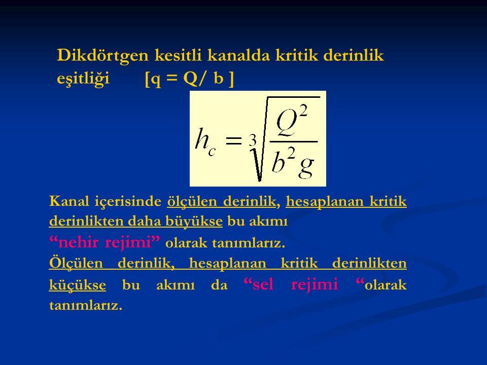 Dikdörtgen kesitli kanalda kritik derinlik eşitliği [q = Q/ b ] Kanal içerisinde ölçülen derinlik, hesaplanan kritik derinlikten daha büyükse bu akımı