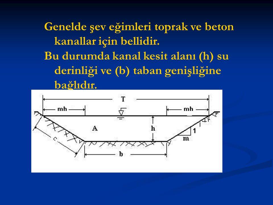 Genelde şev eğimleri toprak ve beton kanallar için bellidir. Bu durumda kanal kesit alanı (h) su derinliği ve (b) taban genişliğine bağlıdır.