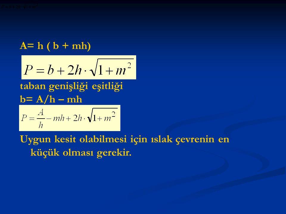 A= h ( b + mh) taban genişliği eşitliği b= A/h – mh Uygun kesit olabilmesi için ıslak çevrenin en küçük olması gerekir.