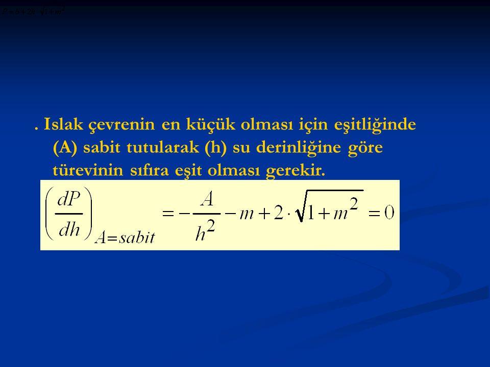. türevini (A) kesit alanı için çözersek