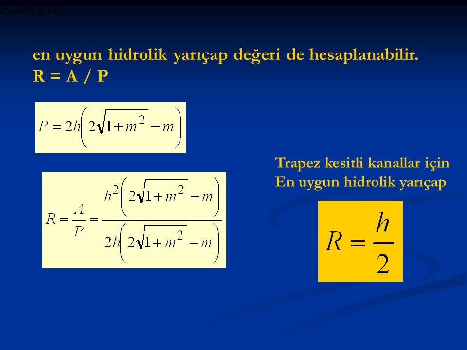 en uygun hidrolik yarıçap değeri de hesaplanabilir. R = A / P Trapez kesitli kanallar için En uygun hidrolik yarıçap