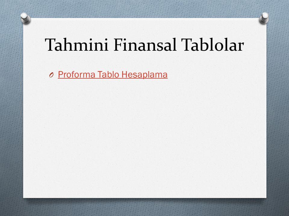 Tahmini Finansal Tablolar O Proforma Tablo Hesaplama Proforma Tablo Hesaplama