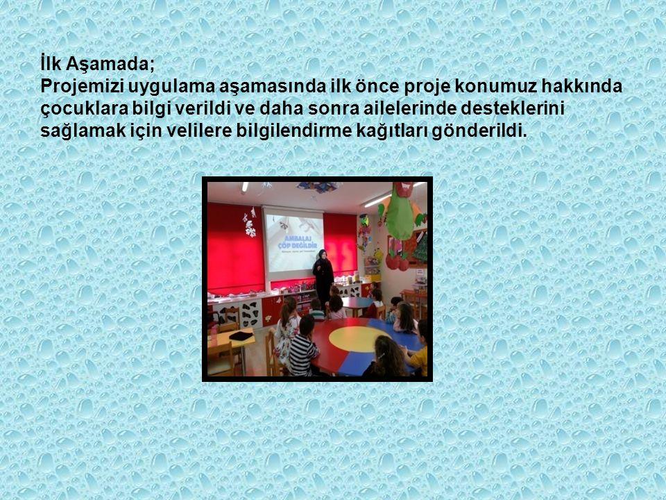 İlk Aşamada; Projemizi uygulama aşamasında ilk önce proje konumuz hakkında çocuklara bilgi verildi ve daha sonra ailelerinde desteklerini sağlamak için velilere bilgilendirme kağıtları gönderildi.