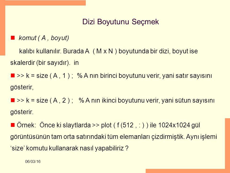 06/03/16 Dizi Boyutunu Seçmek komut ( A, boyut) kalıbı kullanılır. Burada A ( M x N ) boyutunda bir dizi, boyut ise skalerdir (bir sayıdır). in >> k =