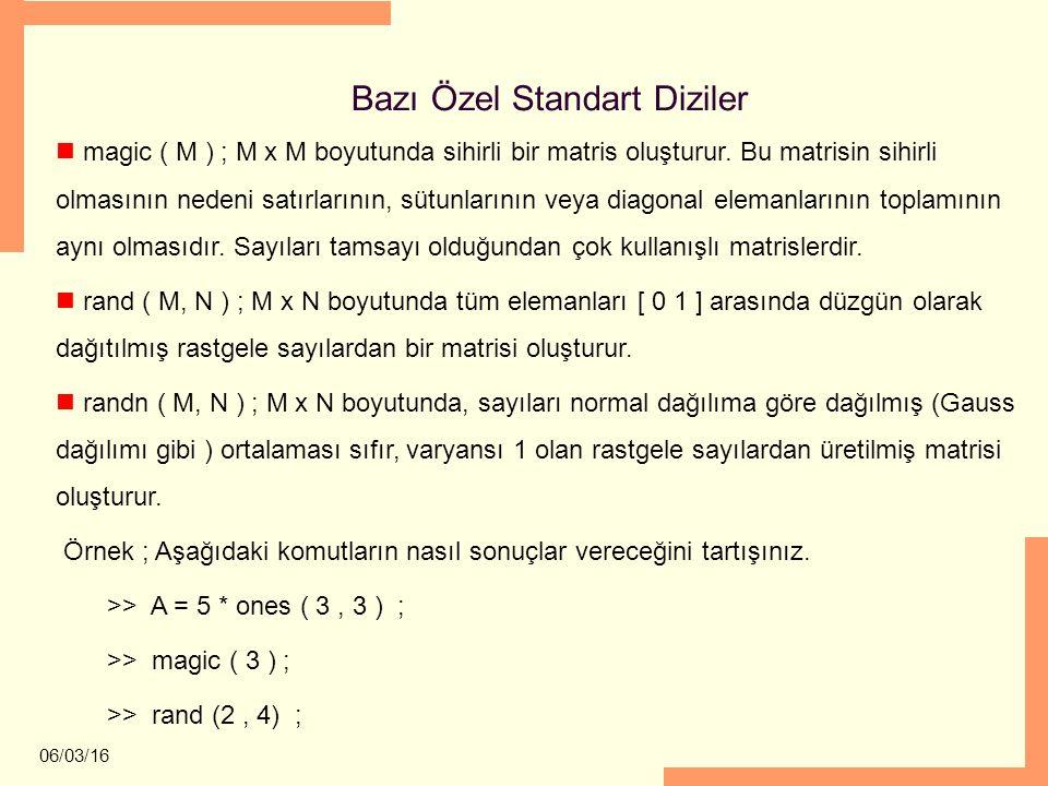 06/03/16 Bazı Özel Standart Diziler magic ( M ) ; M x M boyutunda sihirli bir matris oluşturur. Bu matrisin sihirli olmasının nedeni satırlarının, süt