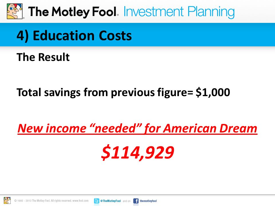 "4) Education Costs The Result Total savings from previous figure= $1,000 New income ""needed"" for American Dream $114,929"