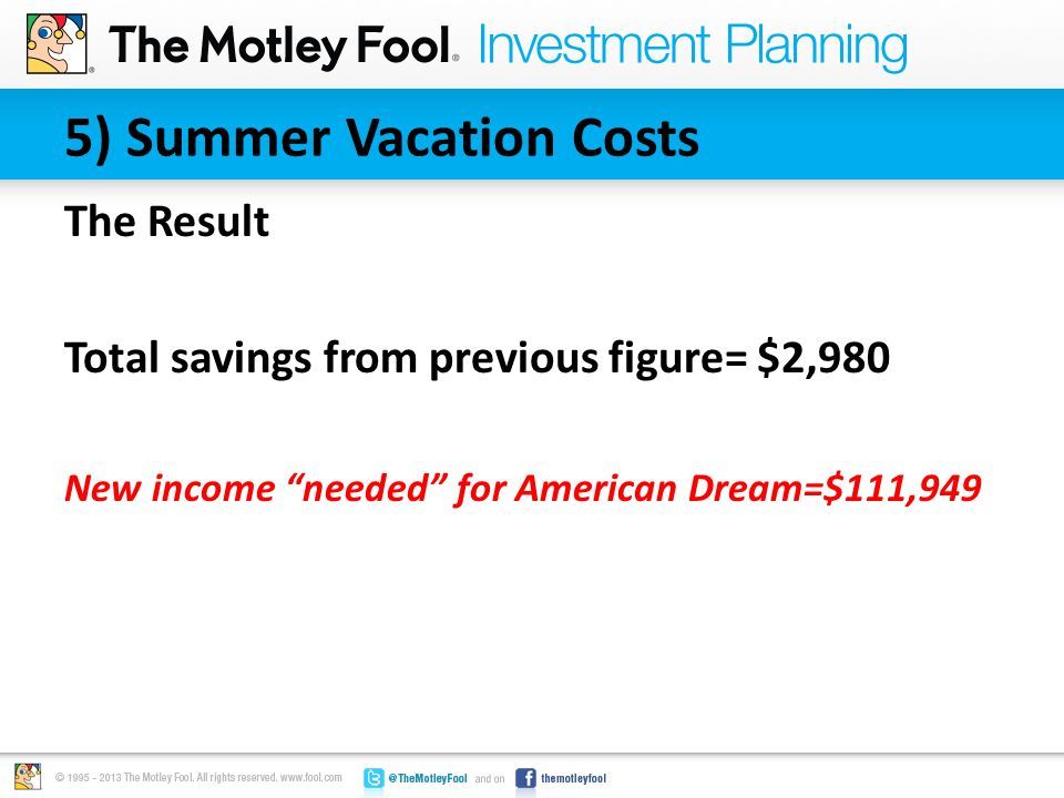 "5) Summer Vacation Costs The Result Total savings from previous figure= $2,980 New income ""needed"" for American Dream=$111,949"