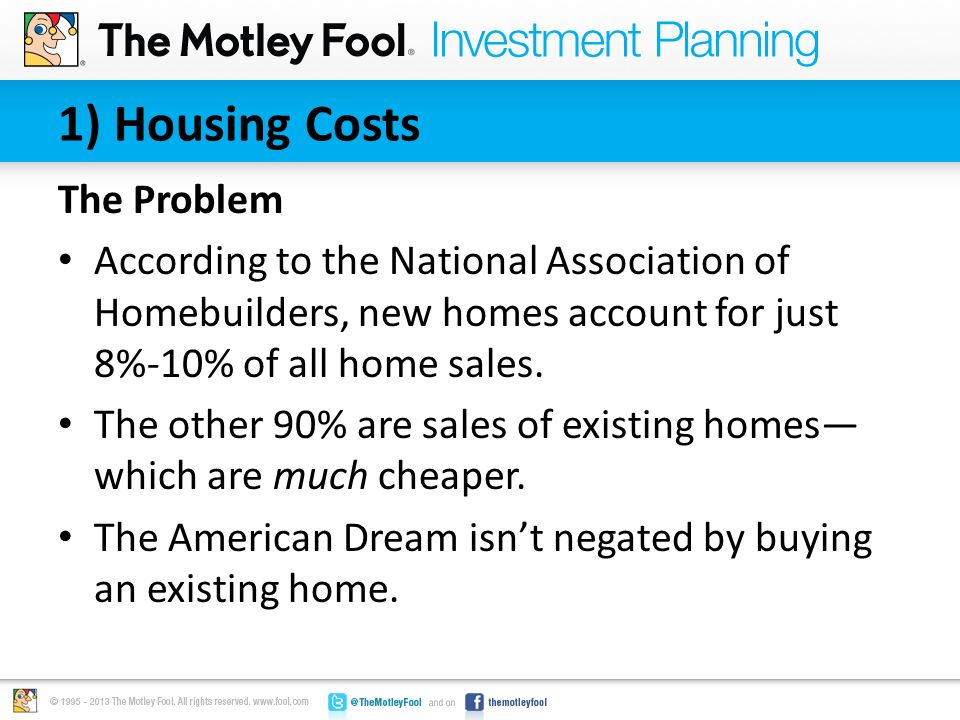 1) Housing Costs The Solution The median existing home price from the timeframe USA Today used was $198,000.