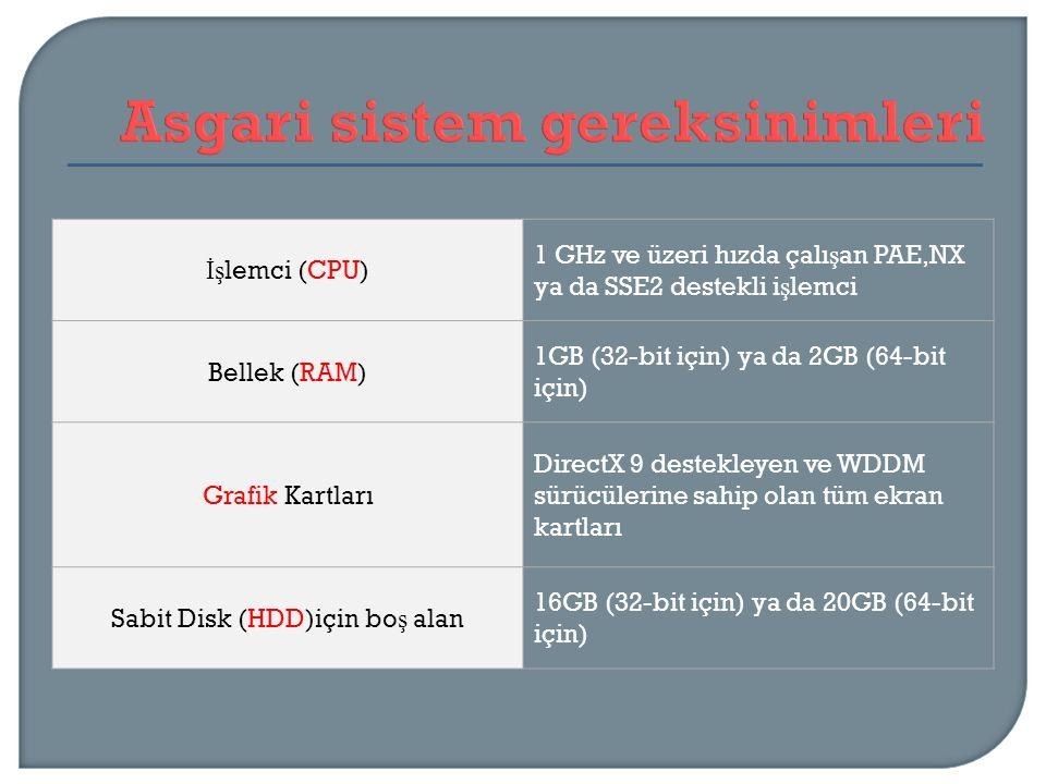İş lemci (CPU) 1 GHz ve üzeri hızda çalı ş an PAE,NX ya da SSE2 destekli i ş lemci Bellek (RAM) 1GB (32-bit için) ya da 2GB (64-bit için) Grafik Kartl