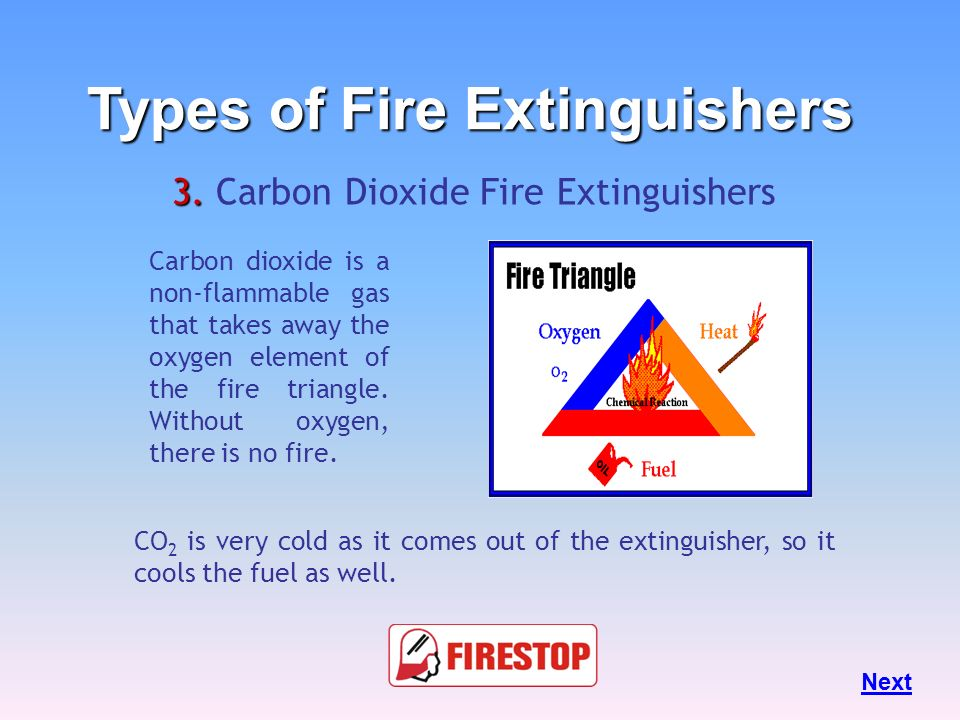 3. 3. Carbon Dioxide Fire Extinguishers CO 2 s will frequently be found in laboratories, mechanical rooms, Sophisticated Electronic Equipments Room an