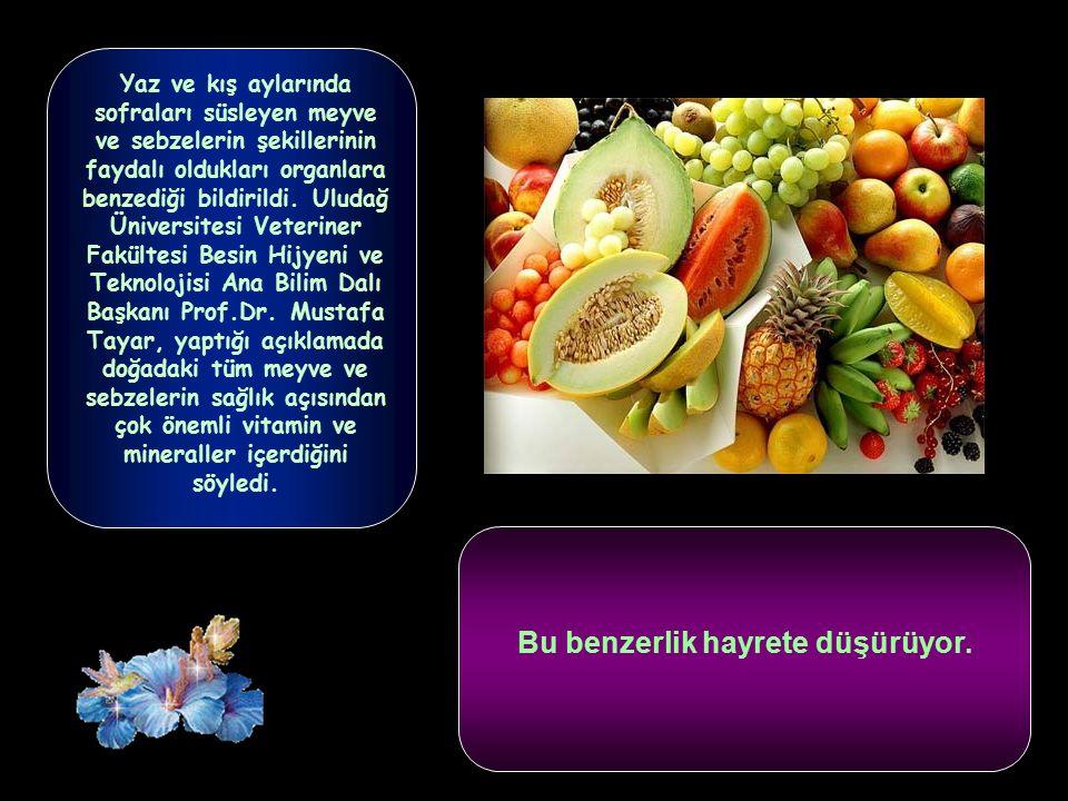 Yaz ve kış aylarında sofraları süsleyen meyve ve sebzelerin şekillerinin faydalı oldukları organlara benzediği bildirildi.