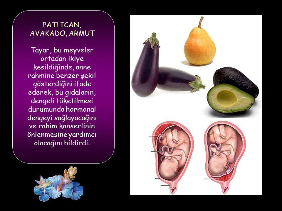 PATLICAN, AVAKADO, ARMUT Tayar, bu meyveler ortadan ikiye kesildiğinde, anne rahmine benzer şekil gösterdiğini ifade ederek, bu gıdaların, dengeli tüketilmesi durumunda hormonal dengeyi sağlayacağını ve rahim kanserlinin önlenmesine yardımcı olacağını bildirdi.