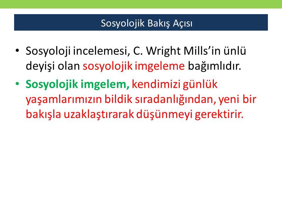 Sosyoloji incelemesi, C. Wright Mills'in ünlü deyişi olan sosyolojik imgeleme bağımlıdır.