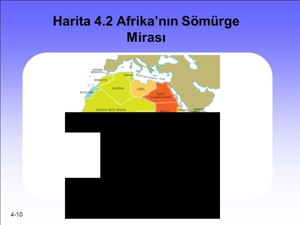 4-10 Harita 4.2 Afrika'nın Sömürge Mirası