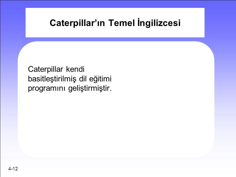 4-12 Caterpillar'ın Temel İngilizcesi Caterpillar kendi basitleştirilmiş dil eğitimi programını geliştirmiştir.