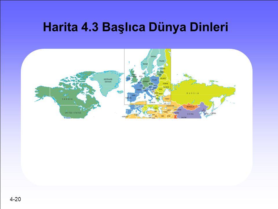 4-20 Harita 4.3 Başlıca Dünya Dinleri