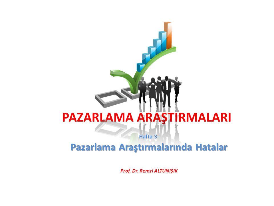 PAZARLAMA ARAŞTIRMALARI Hafta 3- Pazarlama Araştırmalarında Hatalar Prof. Dr. Remzi ALTUNIŞIK