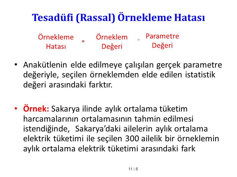 11 | 6 Tesadüfi (Rassal) Örnekleme Hatası Anakütlenin elde edilmeye çalışılan gerçek parametre değeriyle, seçilen örneklemden elde edilen istatistik d