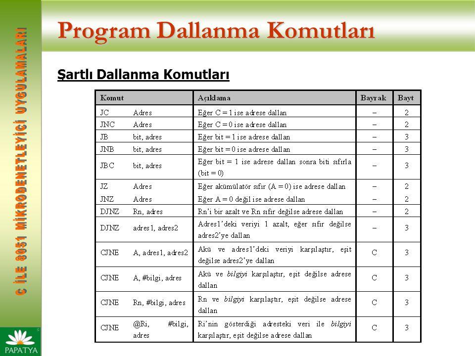 Program Dallanma Komutları Şartlı Dallanma Komutları