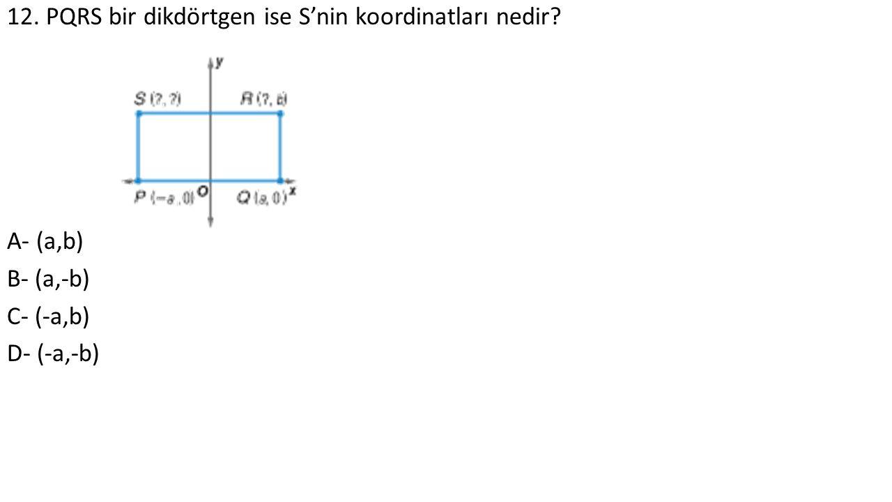 12. PQRS bir dikdörtgen ise S'nin koordinatları nedir A- (a,b) B- (a,-b) C- (-a,b) D- (-a,-b)